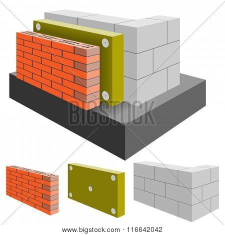 Brick Wall of the House with Insulation, cut. Arrangement Construction. Illustration. Vector EPS10.