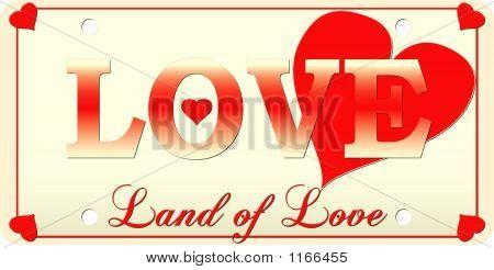Love License Plate - Vector Illustration
