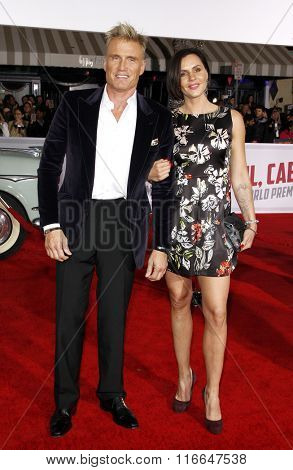 Dolph Lundgren and Jenny Sandersson at the World premiere of 'Hail, Caesar!' held at the Regency Village Theatre in Westwood, USA on February 1, 2016.