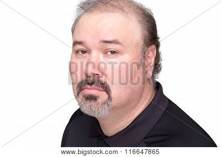 Downcast Middle Aged Male Over White Background