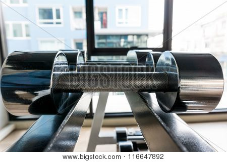 Dumbbells weight Training Equipment in gym, Selective focus