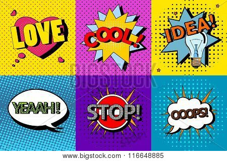 Vector set of comic speech bubbles in pop art style. Design elements, text clouds, message templates