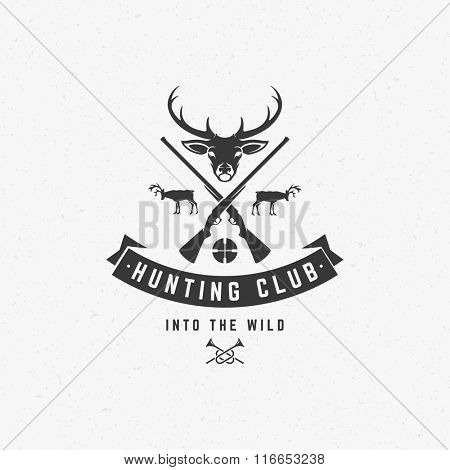 Hunting Club Logo Template. Deer Head and Riffle Silhouette Isolated On White Background. Vector object for Labels, Badges, Logos and other Design. Deer Logo, Hunter Logo, Deer Hunting, Rifle Logo.