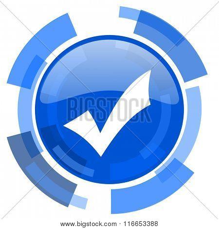 accept blue glossy circle modern web icon