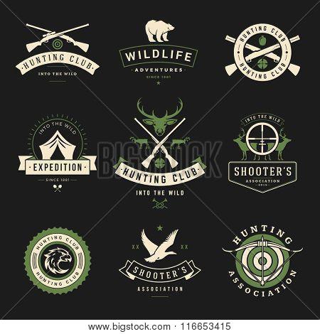 Set of Hunting and Fishing Labels, Badges, Logos Vector Design Elements Vintage Style. Deer Head, Hunter Weapons. Advertising Hunter Equipment. Fishing Logo, Deer Logo, Rifle Logo, Camp Logo.