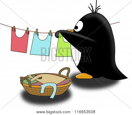 Penguin dry the linen