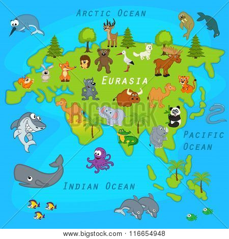 map of Eurasia with animals - vector illustration, eps poster