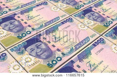 Nigerian nairas bills stacks background. Computer generated 3D photo rendering.