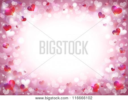Valentine's Day Background with Frame Composed of Pink, Red and White Hearts with Space for Text