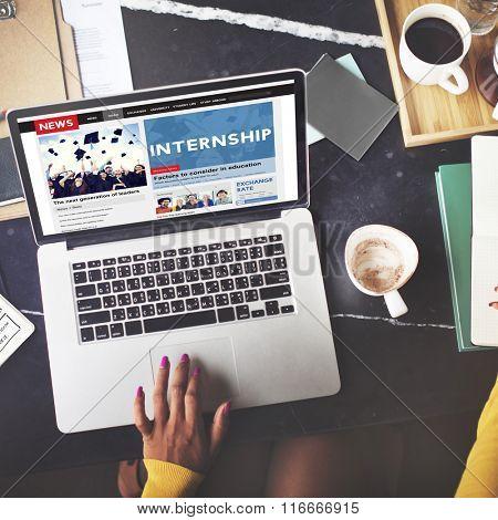 Internship Skills Temporary Management Trainee Concept poster