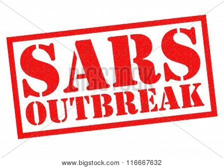 SARS OUTBREAK red Rubber Stamp over a white background.