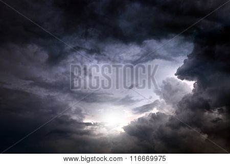 Dark and Dramatic Storm Clouds Area Background poster