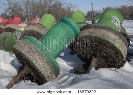 Buoys And Zebra Mussel Shells