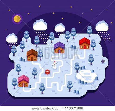 Illustration of cartoon village