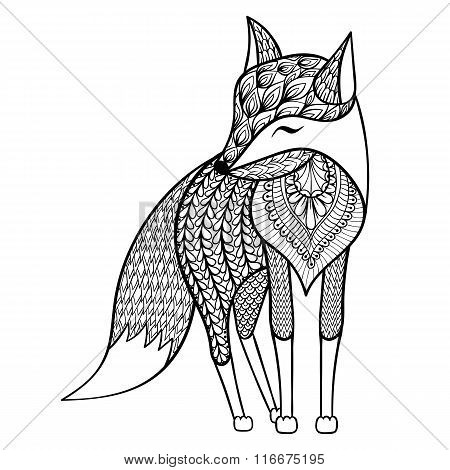 Zentangle vector happy Fox for adult anti stress coloring pages.