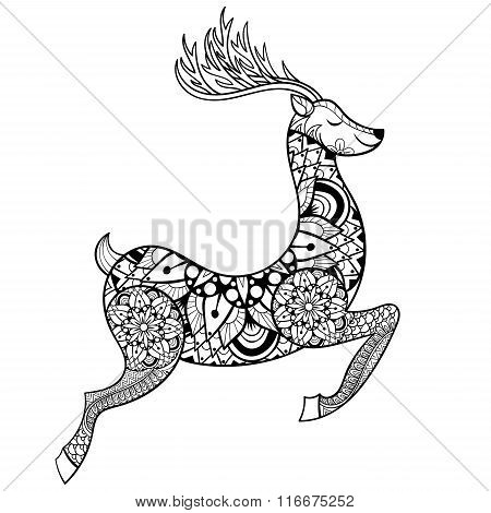 Zentangle vector Reindeer for adult anti stress coloring pages.