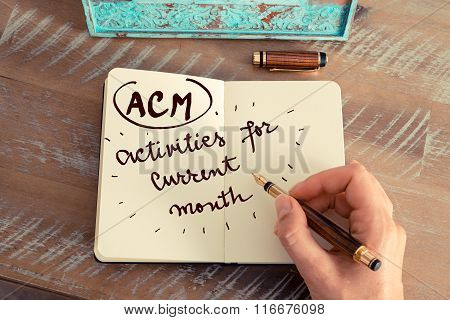 Acronym Acm Activities For Current Month