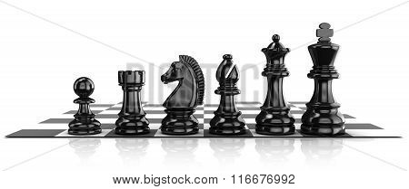 Chess black pieces standing on board