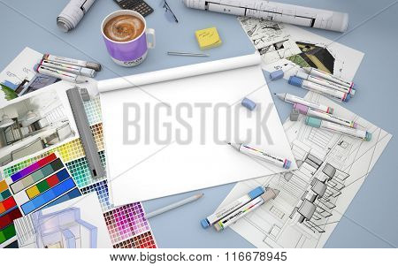 3D rendering of an architect, decorator or designer desktop with an open blank layout notebook