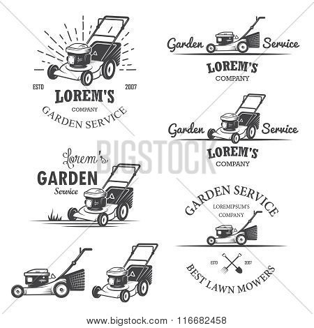 Set of vintage garden service emblems.