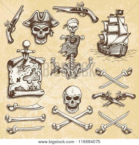 Set of vintage hand drawn pirates designed elements.