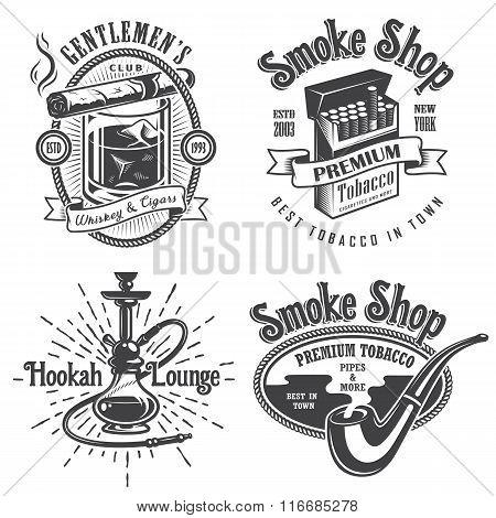 Set of vintage tobacco smoking emblems