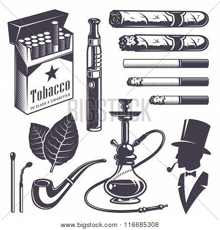 Set of vintage smoking tobacco elements