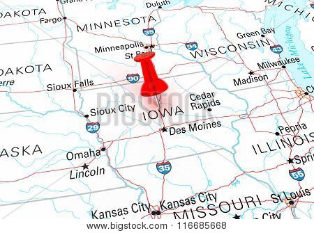Red Thumbtack Over Iowa State Usa Map