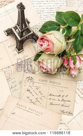 Roses, Vintage Postcards And Souvenir Eiffel Paris