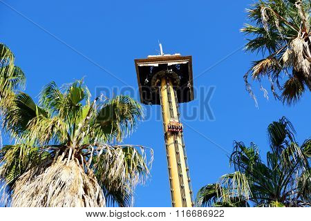 Port Aventura, Spain - May 26: The Hurakan Condor Ride In Port Aventura Theme Park In May 26, 2015 I