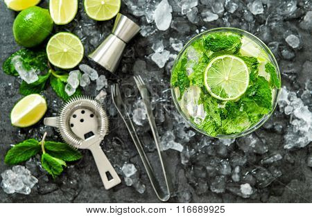 Mojito Cocktail Ingredients Lime Mint Leaves Ice