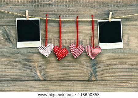 Red Hearts Blank Polaroid Photo Frame Hanging On Clothesline