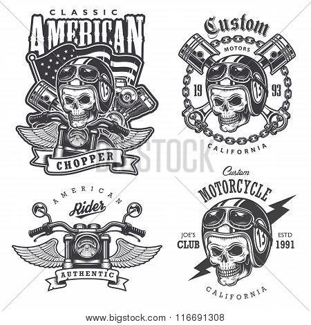 Set of Vintage motorcycle  t-shirt prints