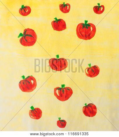Watercolor Raster Tomato Background