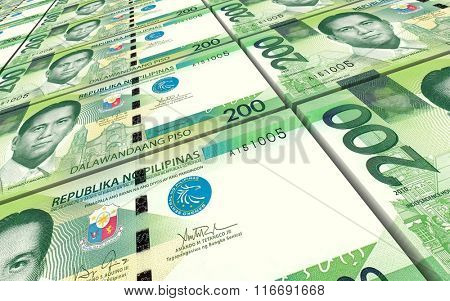 Philippines peso bills stacks background. Computer generated 3D photo rendering.