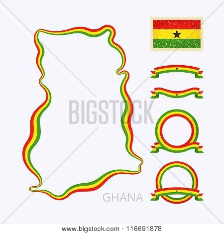 Outline map of Ghana. Border is marked with ribbon in national colors. The package contains frames in national colors and stamp with flag.