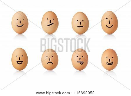 Series Of Emoticons, Painted On Eggs