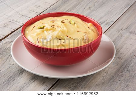 indian dessert or indian sweet Shrikhand, made up of strained yogurt or chakka, popular in maharasht