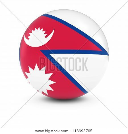Nepalese Flag Ball - Flag Of Nepal On Isolated Sphere