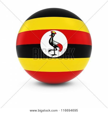 Ugandan Flag Ball - Flag Of Uganda On Isolated Sphere