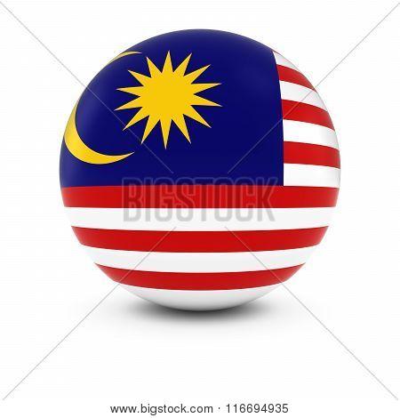 Malaysian Flag Ball - Flag Of Malaysia On Isolated Sphere