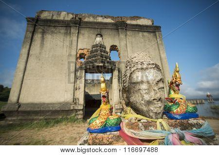 Thailand Kanchanaburi Sangkhlaburi Floodet Temple