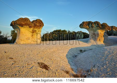 Sunrise of The Stone Mushrooms, near Beli plast village, Kardzhali Region, Bulgaria