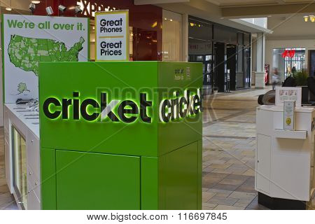 Indianapolis - Circa February 2016: Cricket Wireless Kiosk.