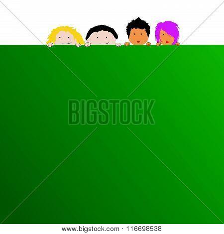 Children With Schoolboard Illustration