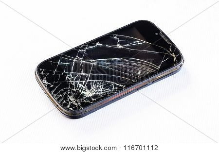 Mobile smartphone and screen damage broken isolated on white background