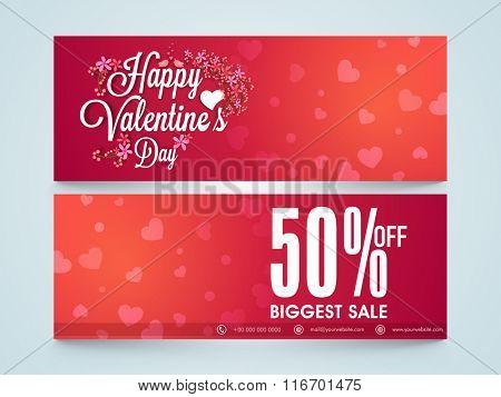 Biggest Sale website header or banner set with 50% discount offer for Happy Valentine's Day celebration.