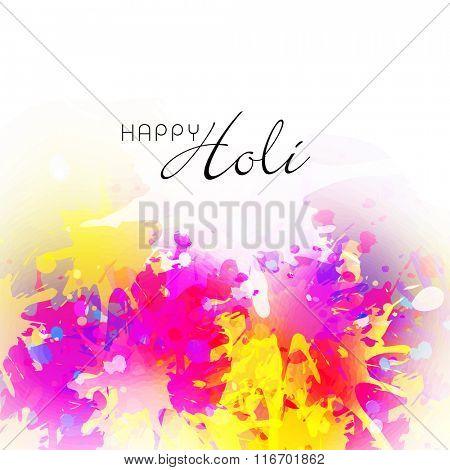 Indian colourful festival Holi celebration background with shiny colours splash.