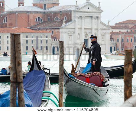 Gondolier In Venice Lagoon