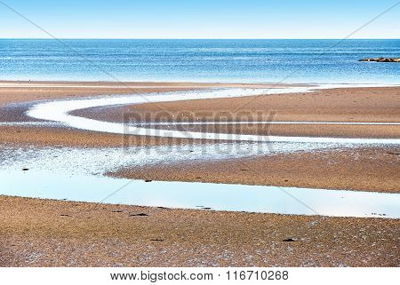 Beach on Ards peninsula in Northern Ireland during low tide poster